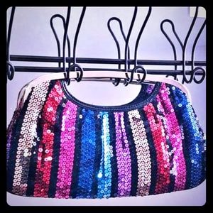 Guess Rainbow Sequin clutch